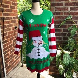 Christmas Ugly Sweater Dress Green/ Red/ White  S